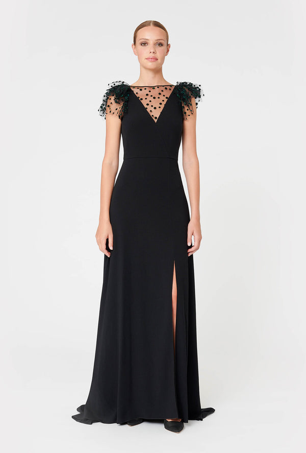 Crepe Satin Long Dress - Black