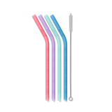 Kids Silicone Reusable Straws - Set of 4