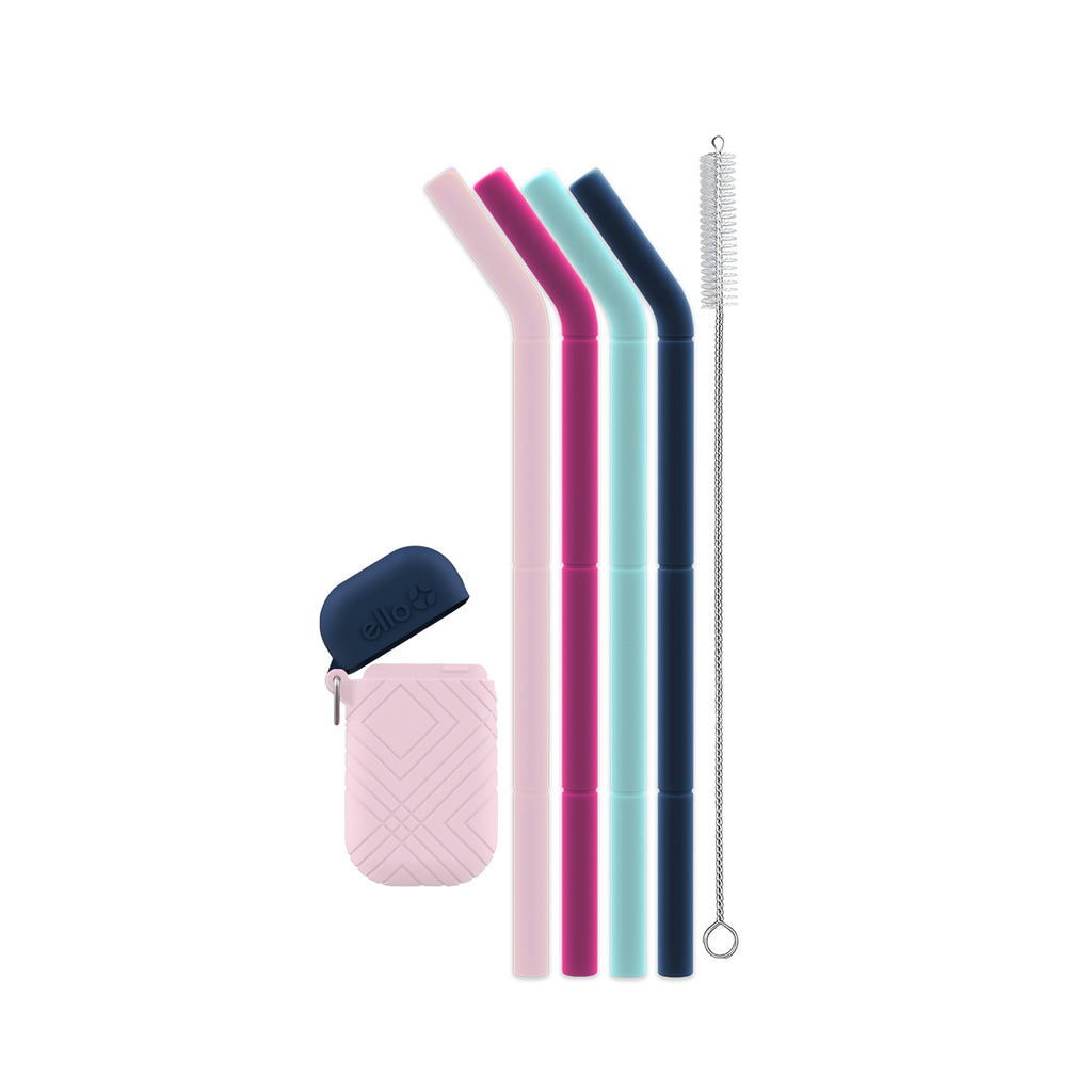 Compact Fold and Store Silicone Straw Set - 4pk