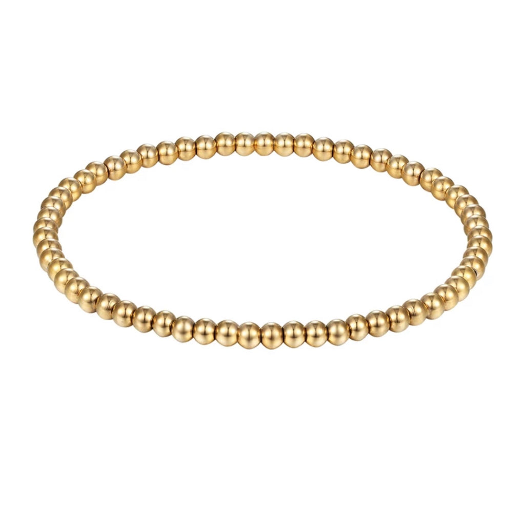 Gold Bead Bracelet 6mm