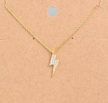Rhinestone Lightning Bolt Necklace