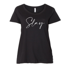 curvy plus size tee shirt with Slay on front