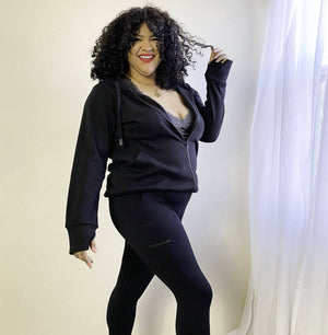 Load image into Gallery viewer, plus size black tracksuit