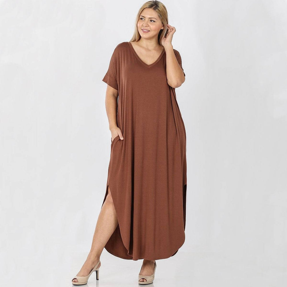Load image into Gallery viewer, v neck plus size maxi dress