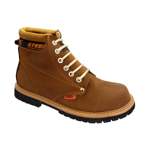 Botas de Piel Steel Boost Color Cafe/Avellana Estilo 8501