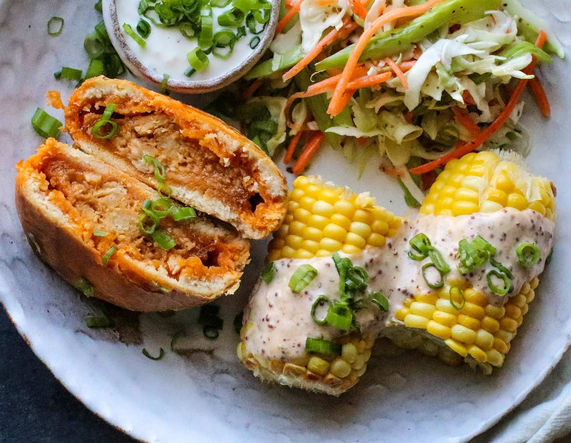 Corn on the Cob with Plant-Based Buffalo Mustard Aioli