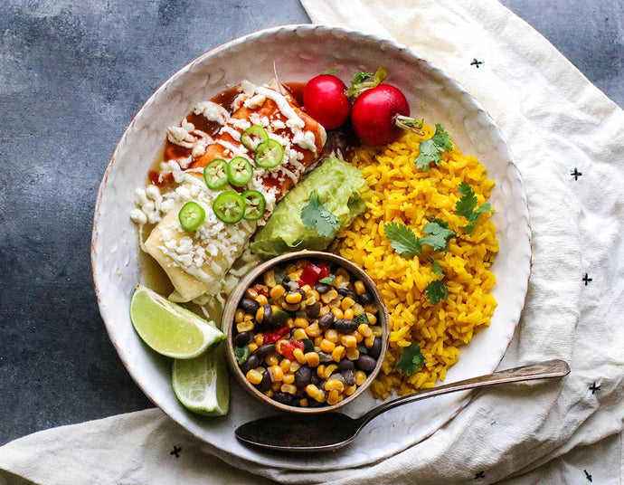 Wet Burrito with Corn Succotash