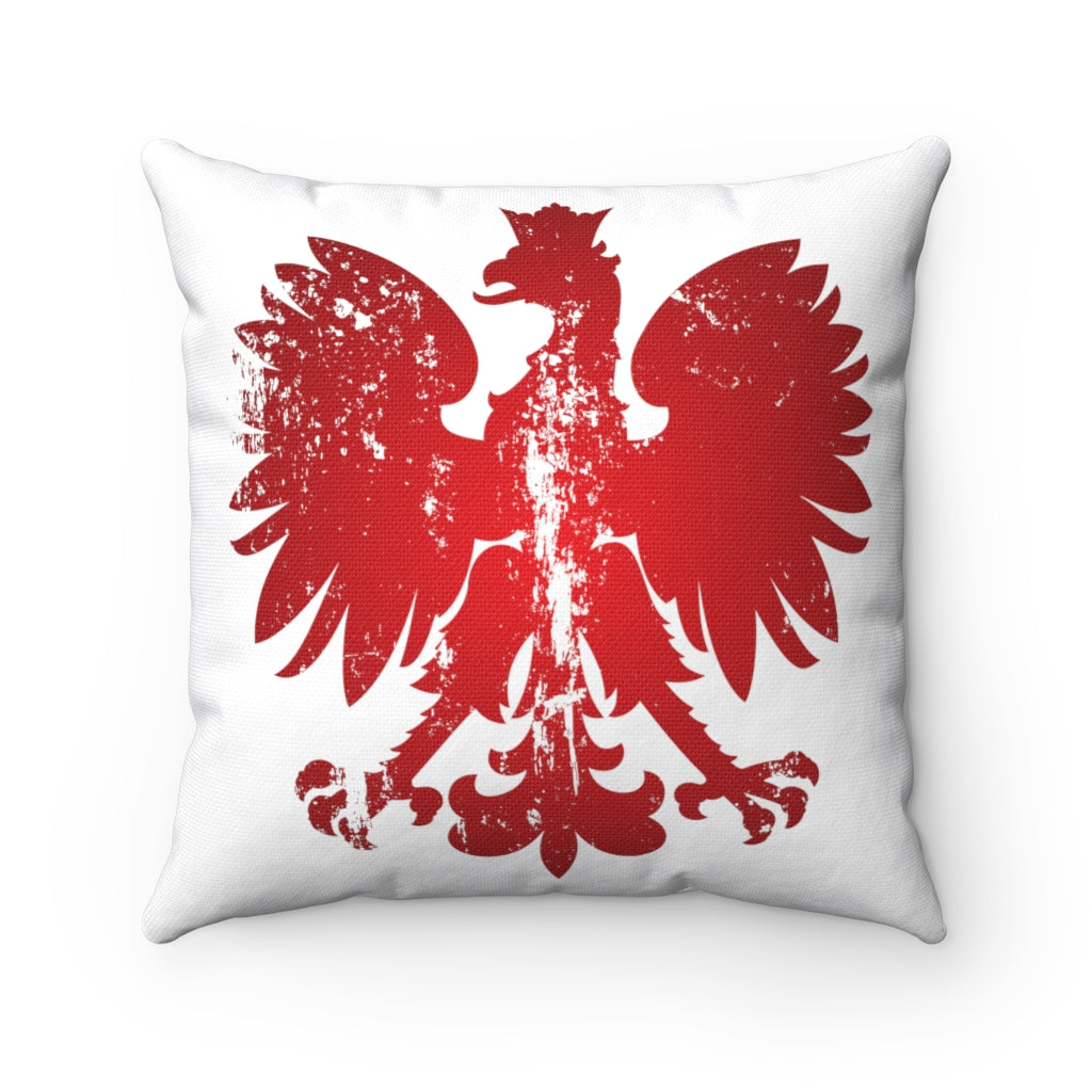 Polish Eagle Polyester Square Couch Pillow - Grunge