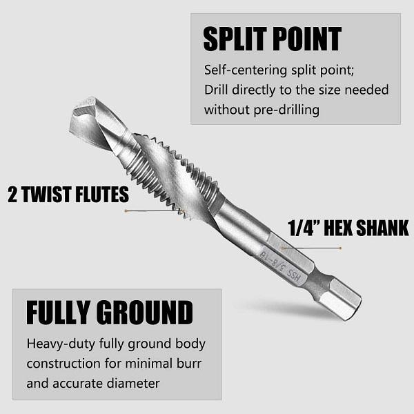 Drill Tap Bits (Set of 6)