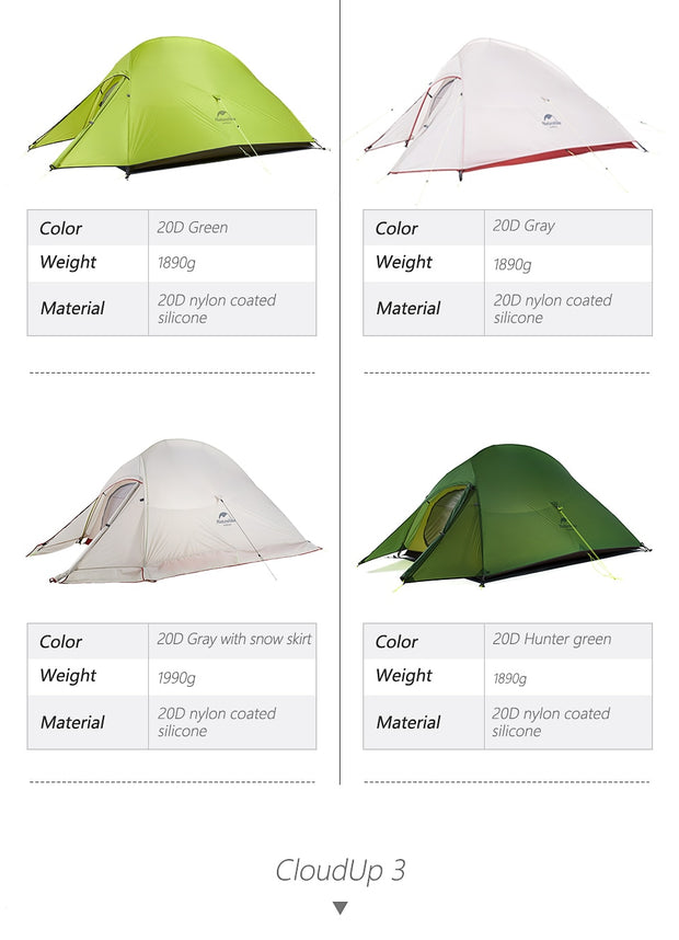 Naturehike Cloud Up Series Ultralight Camping Tent - TheBackpackSupply -