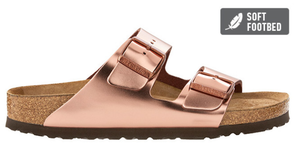 Arizona Natural Metallic Leather in Copper (Soft Footbed - Suede Lined)