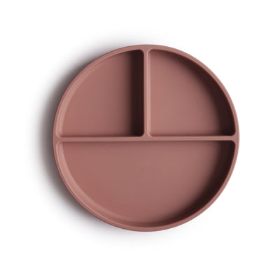 mushie silicone divided plate cloudy mauve