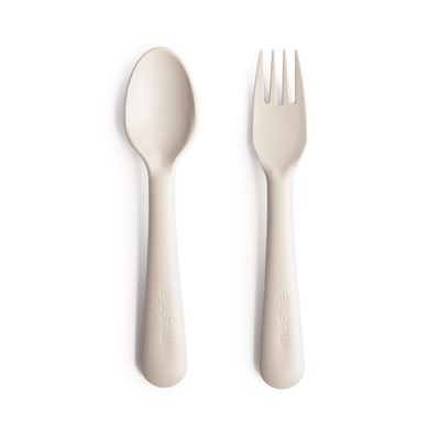 mushie fork and spoon ivory