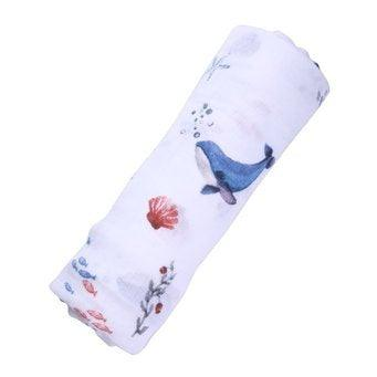 Organic Cotton Muslin Swaddle - Under the Sea