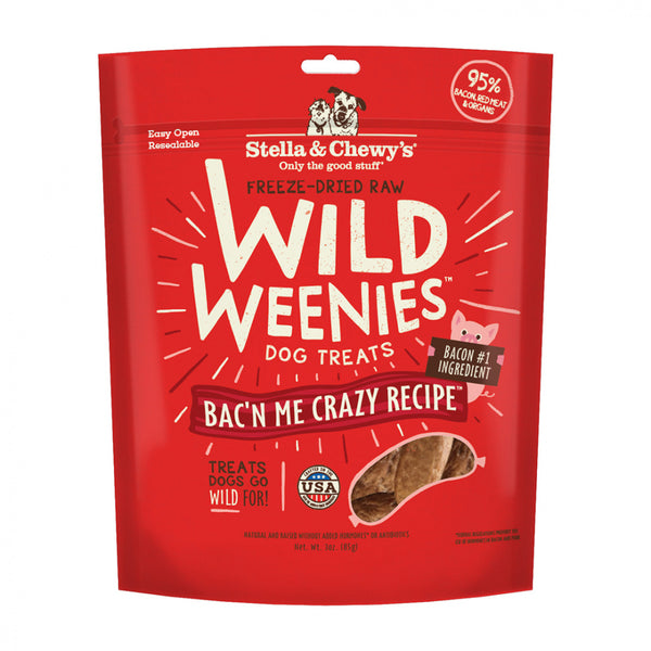 Stella & Chewy's Freeze-Dried Raw Bac'n Me Crazy Recipe Wild Weenies Dog Treats