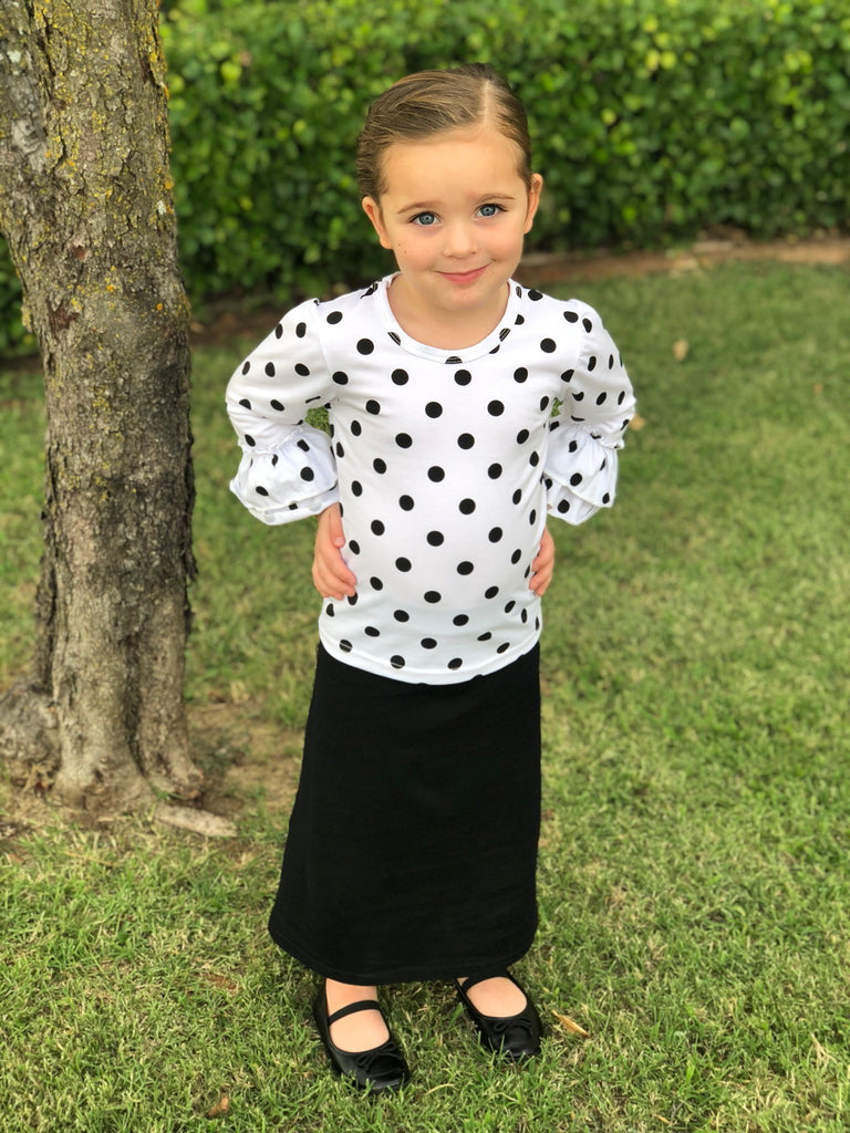 Girls Long Skirt in Black (6-12m thru 14/16y)