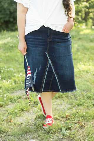 "Lillian Denim Skirt ~ 26"" {XS-3X}"