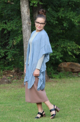 Ruffled Open Front Kimono in Blue Gray (One Size)