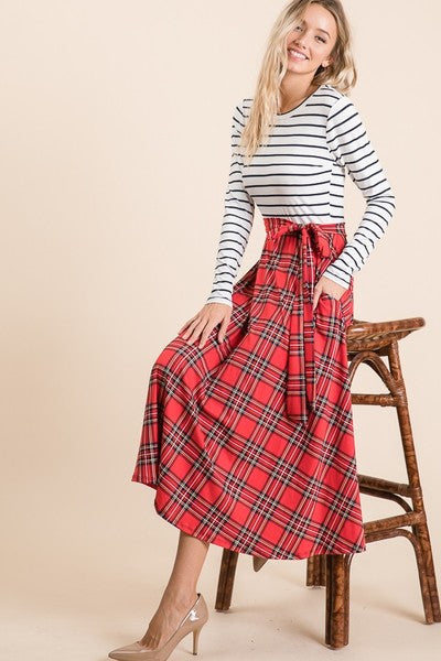 Plaid Dress in Red (S-XL)
