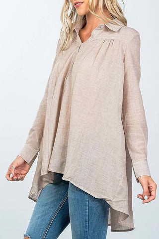 Front Button Up Tunic - Brown