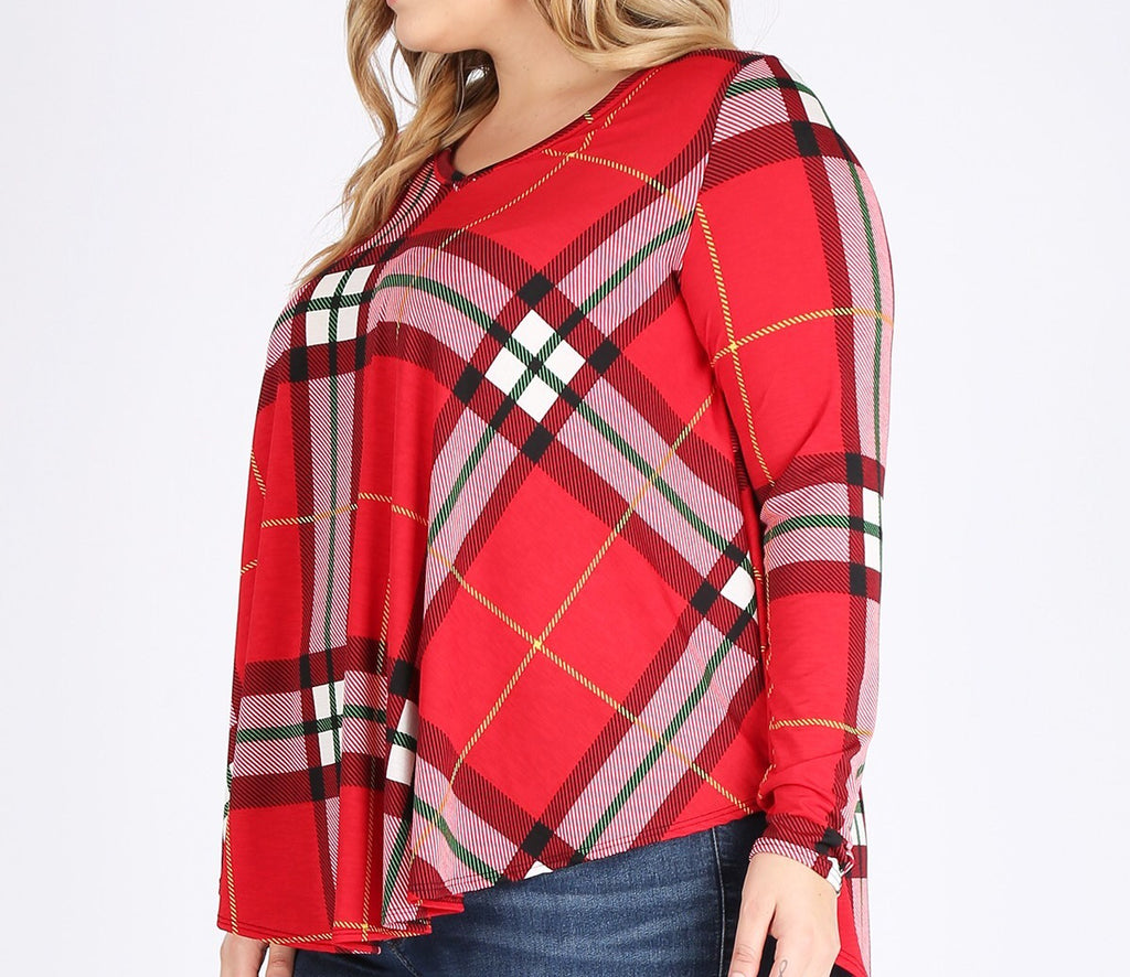 Christmas Plaid Swing Top (1X-3X)