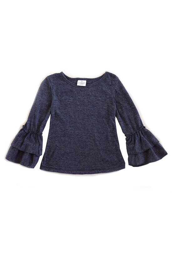 Girls Gray Ruffle Sleeve Top (4T-8Y)