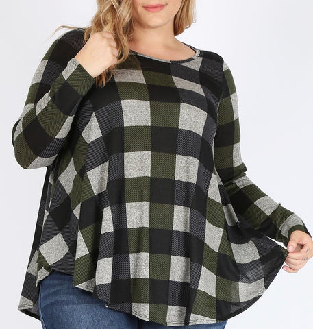 Checker Print Sweater Top (XL-3X)