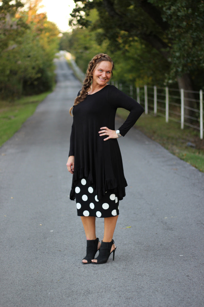 Amelia Dot Skirt in Black (S-L)