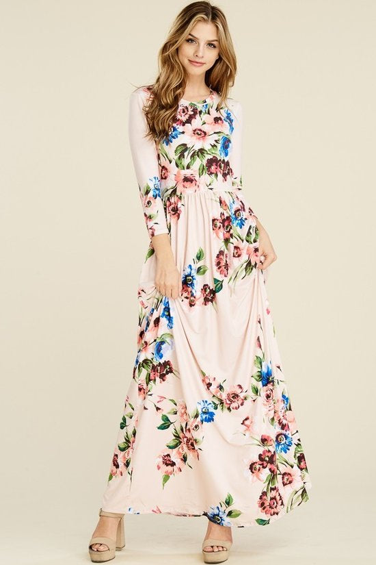 Floral Maxi in Blush {S-XL}