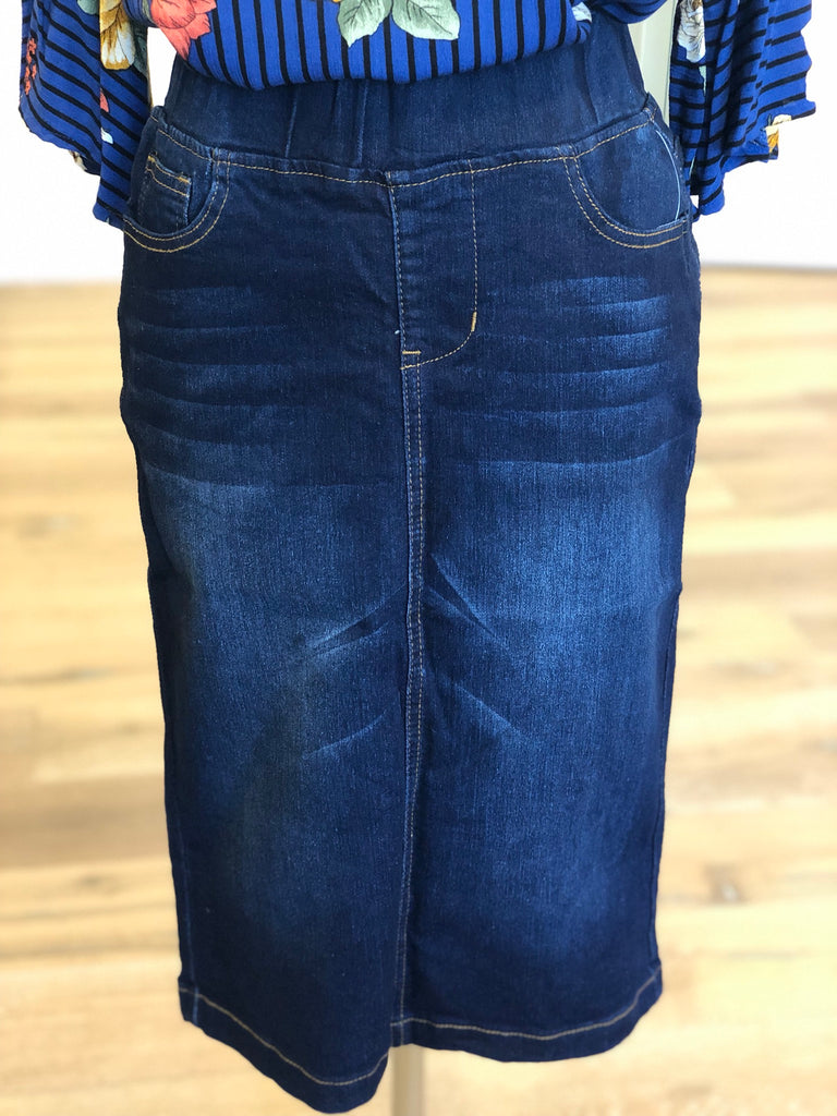 "Denim Skirt ~ Dark Indigo Wash {elastic waist} - 26"" {XS-3X}"