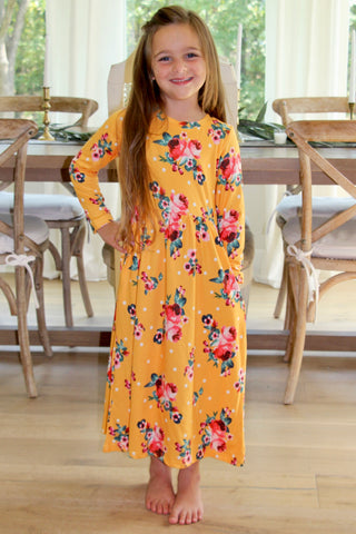 Girls Floral Maxi Dress in Mustard