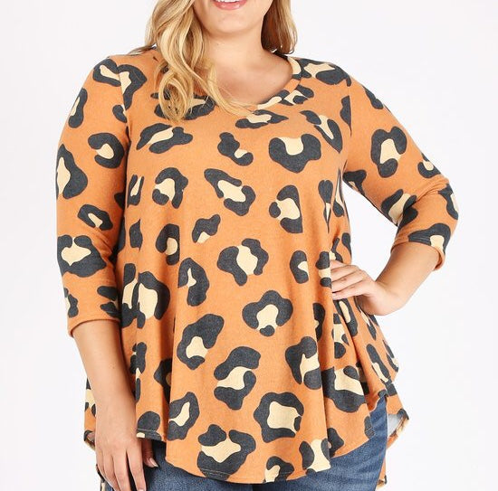 Leopard Top in Orange (1X-3X)