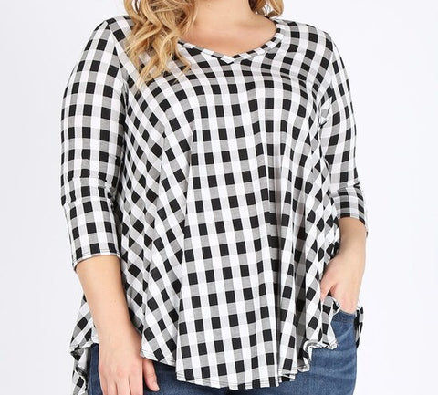 Buffalo Small Check V-Neck Swing Top (1X-3X)