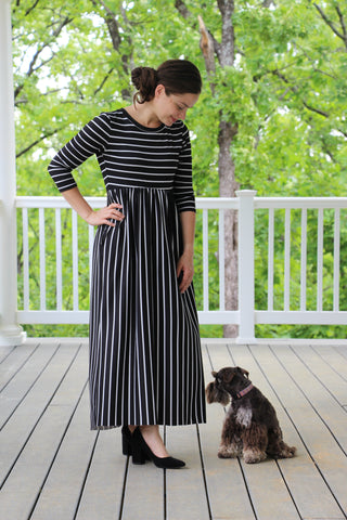B&W Maxi Dress (S-XL)