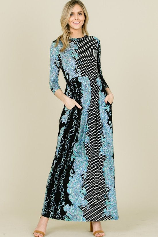 Paisley Dot Maxi Dress (S-L)