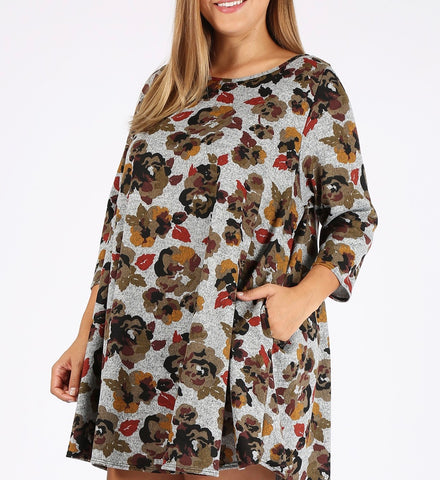 Autumn Floral Sweater Tunic (XL-3X)