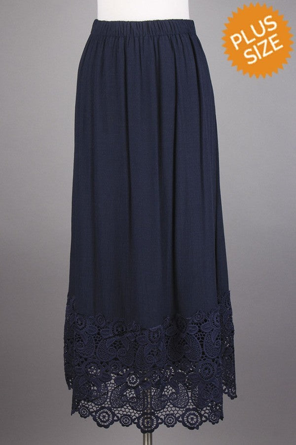 Boho Navy Skirt (XL-3X)