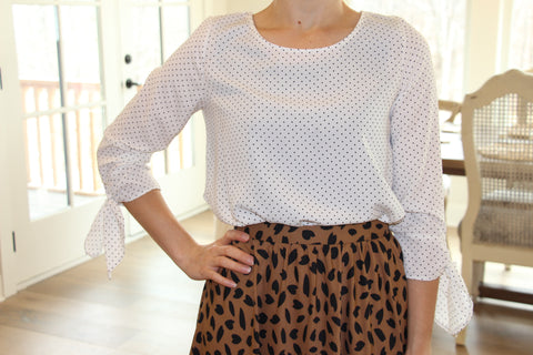 Polka Dot Top with Bow Detail in Ivory {S-M-L}
