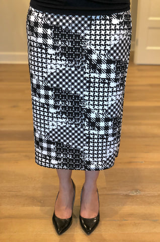 Geometric Skirt in B&W - 27""