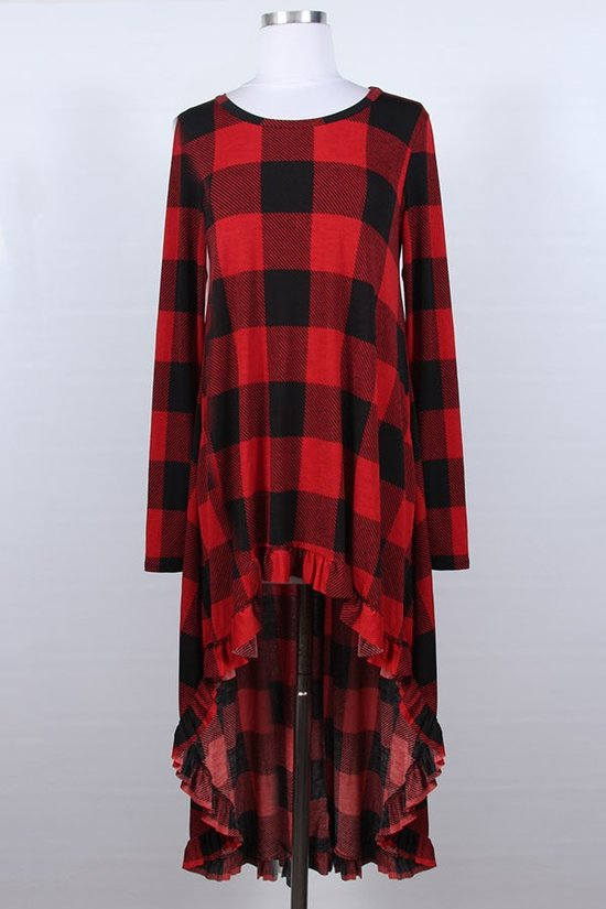 Buffalo Plaid High Low Top in Red