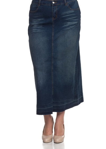 "Denim Skirt in Vintage Wash - 38"" long {XS-3X}"