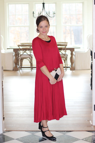Midi Swing Dress in Red (S-L)