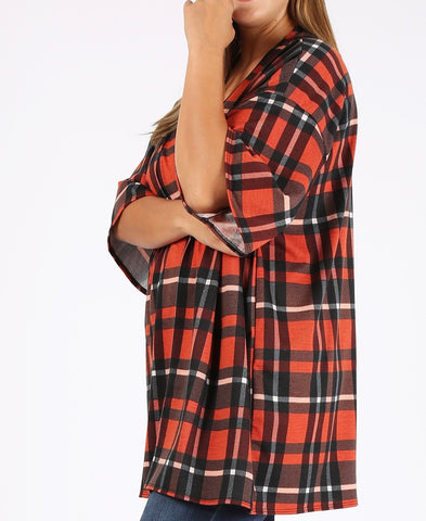 Plaid Sweater Cardigan (XL-3X)