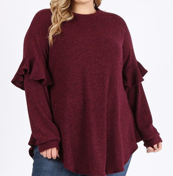 Ruffle Sleeve Tunic in Wine (1X-3X)
