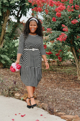 Nina Bubble Dress in B&W {XL-3X}