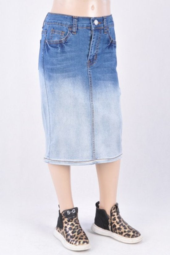 Girls Ombré Denim Skirt