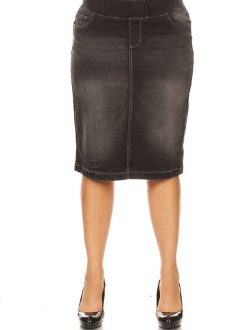 "Black Denim Skirt (elastic waist) - 26"" (S-3XL)"