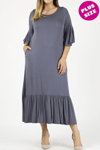 Ruffle Trim Plus Dress in Charcoal {XL-3X}