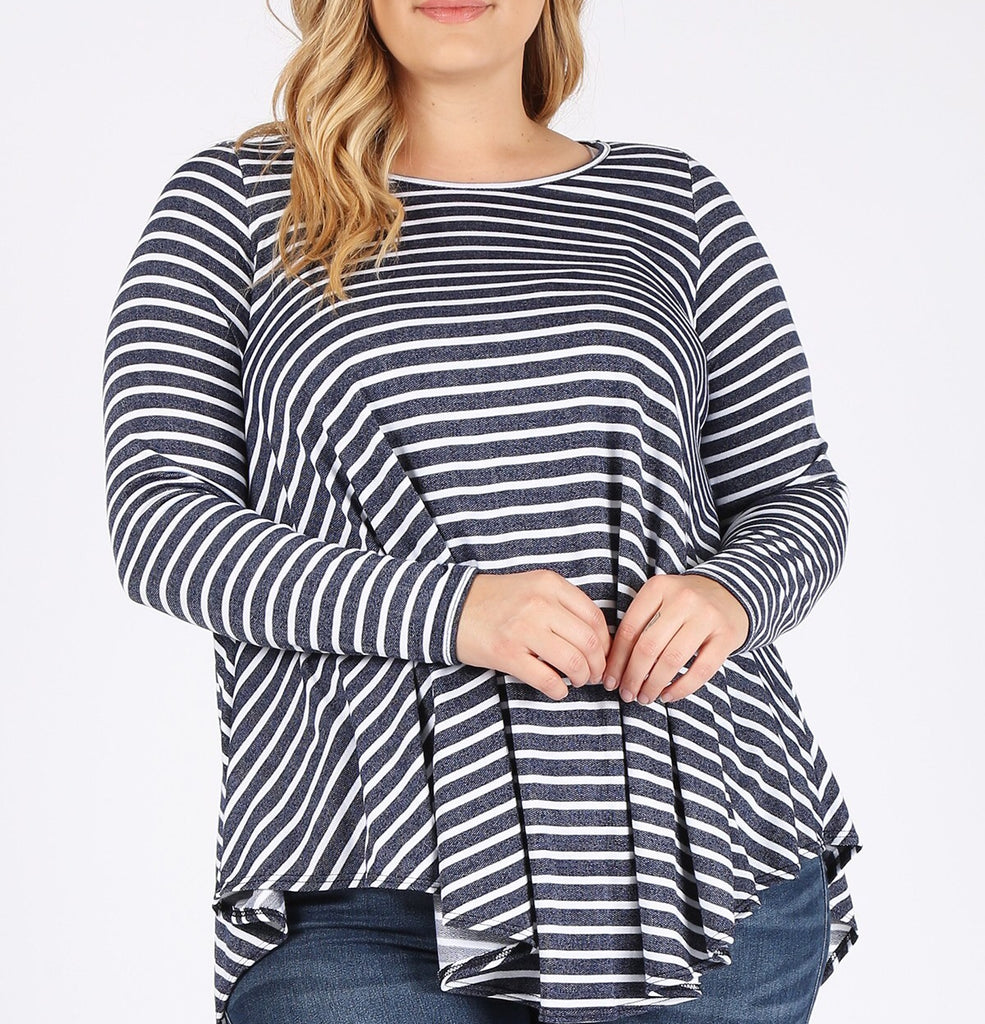 Navy Stripe Swing Top (1X-3X)
