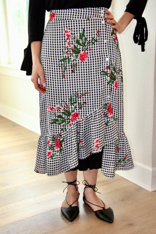 Adele Gingham Midi Skirt in BLACK